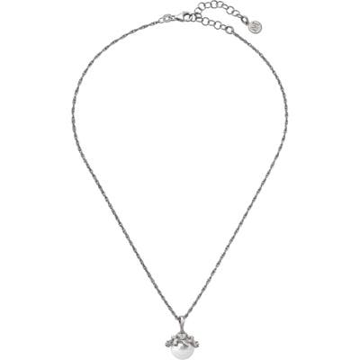 Majorica Simulated Pearl & Cubic Zirconia Pendant Necklace