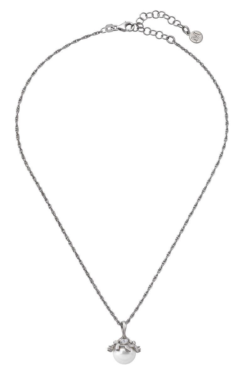 MAJORICA Simulated Pearl & Cubic Zirconia Pendant Necklace, Main, color, 040