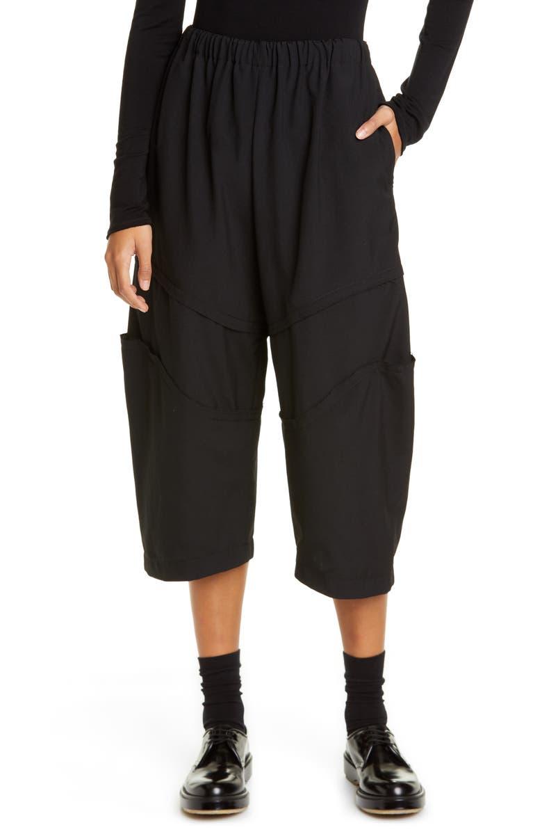 COMME DES GARÇONS Seam Detail Wool Crop Pants, Main, color, BLACK