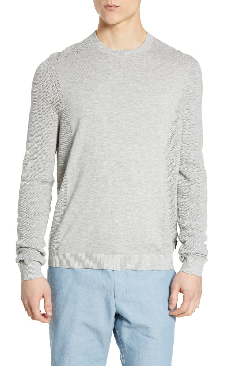 TED BAKER LONDON Trull Slim Fit Crewneck Sweater, Main, color, LT-GREY