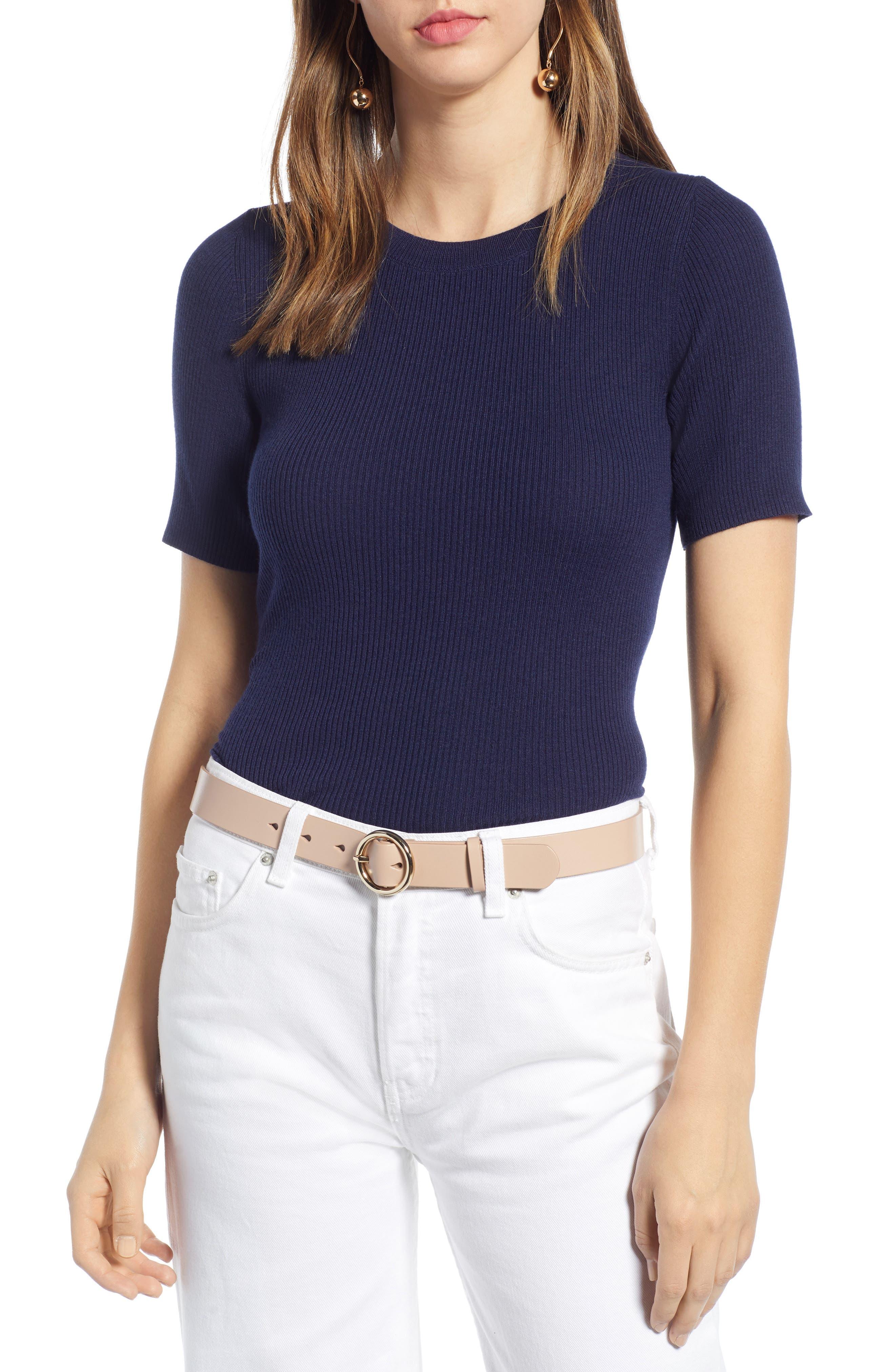 Halogen Skivvy Ribbed Sweater, Blue