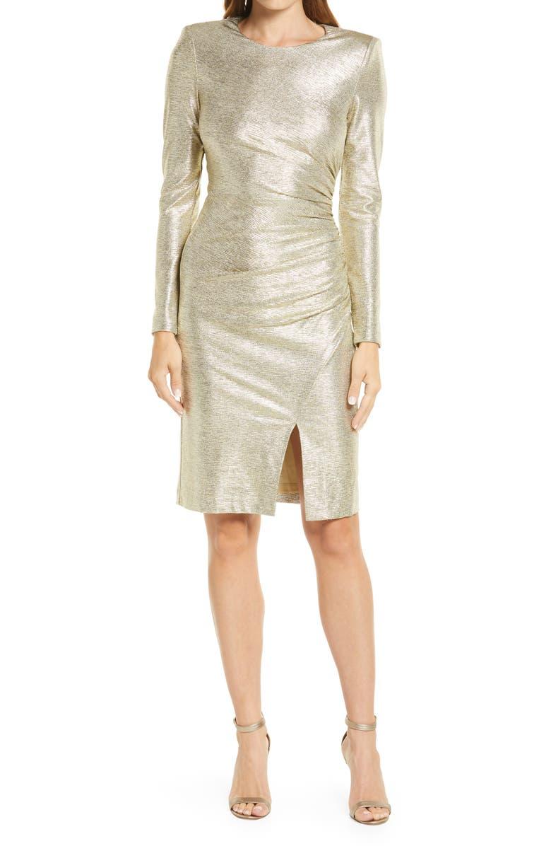 ELIZA J Metallic Ruched Long Sleeve Sheath Dress, Main, color, CHAMPAGNE