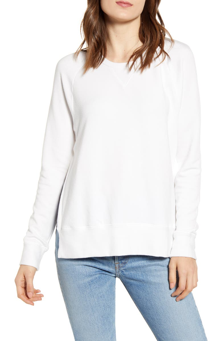 STATESIDE Side Slit Fleece Pullover, Main, color, WHITE