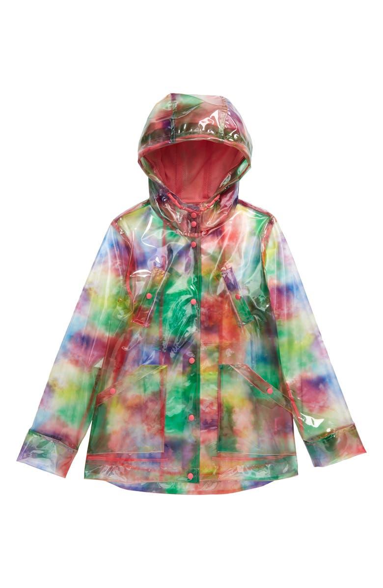 COFFEE SHOP Tie Dye Raincoat, Main, color, PINK