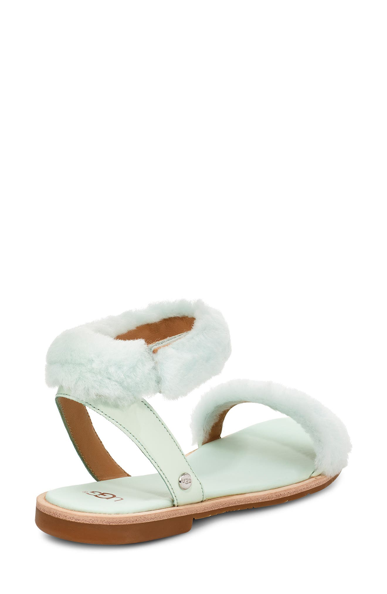 ,                             Fluff Springs Genuine Shearling Sandal,                             Alternate thumbnail 2, color,                             AGAVE GLOW