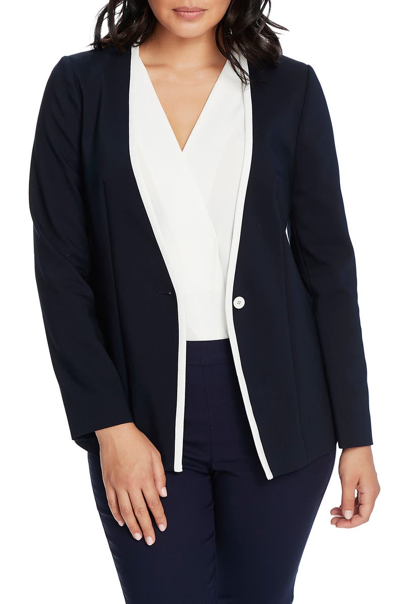 CHAUS One-Button Contrast Trim Jacket, Main, color, EVENING NAVY