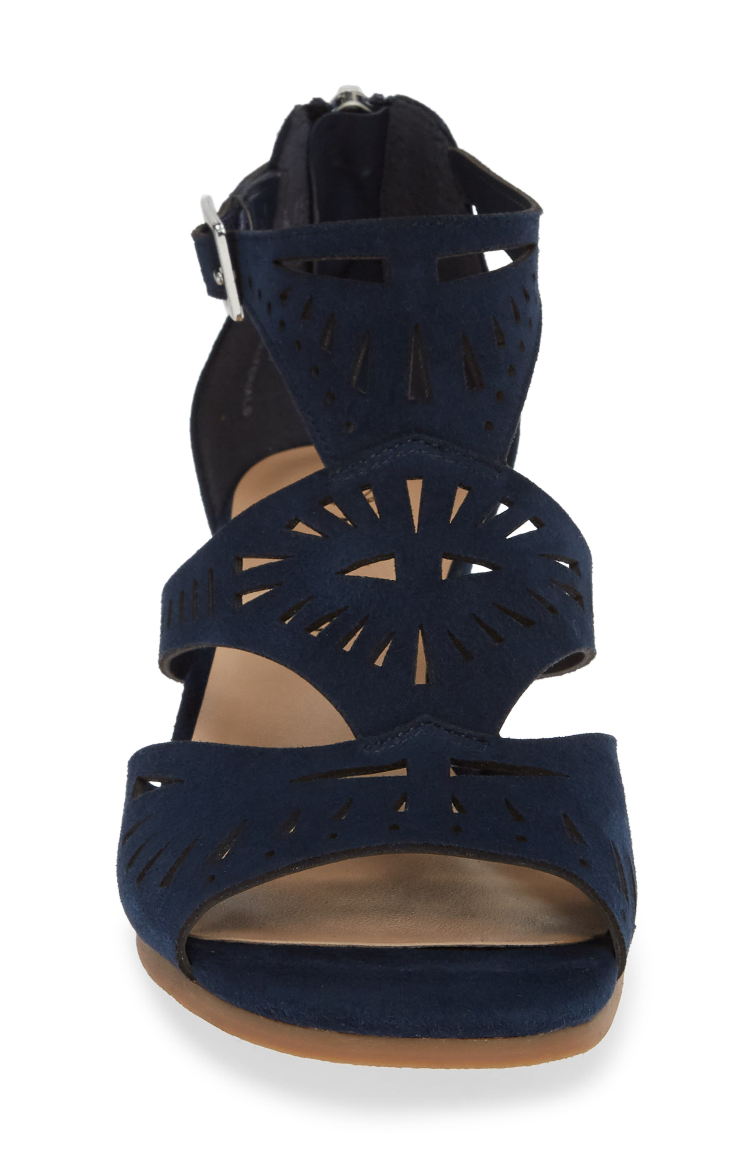 ,                             Penny Sandal,                             Alternate thumbnail 4, color,                             NAVY KID SUEDE LEATHER