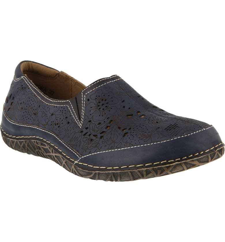 L'ARTISTE Libora Slip-On Flat, Main, color, NAVY LEATHER