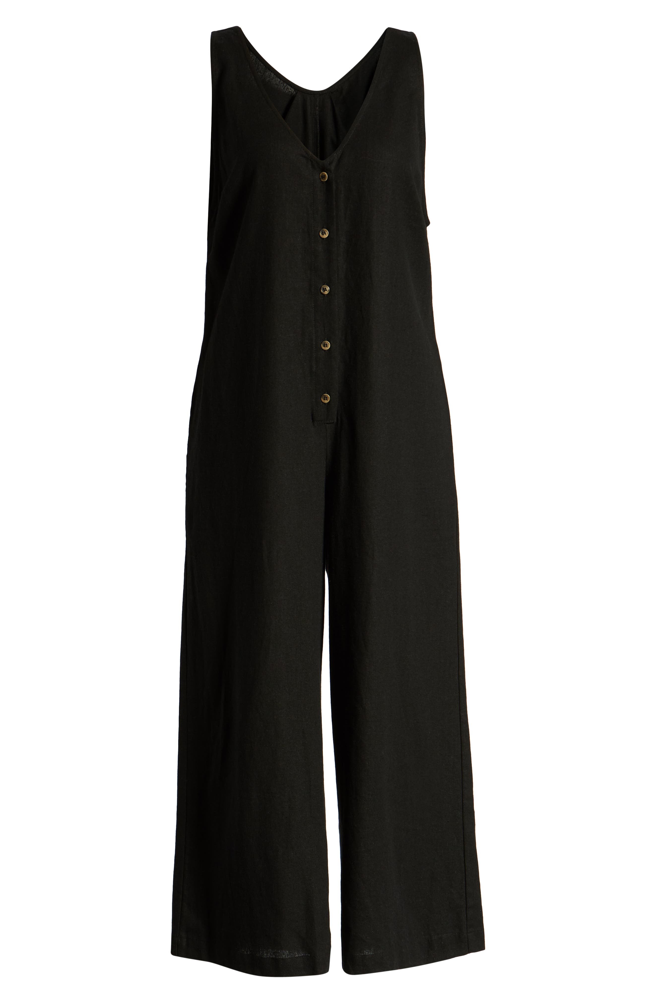 ,                             Button Front Jumpsuit,                             Alternate thumbnail 7, color,                             BLACK