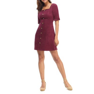 Gal Meets Glam Collection Antonia Button Front Corduroy Minidress, Burgundy