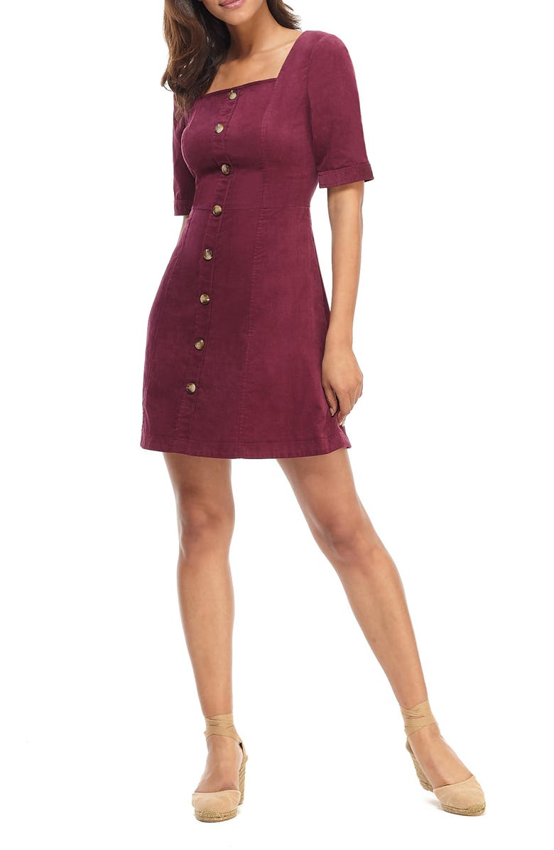 GAL MEETS GLAM COLLECTION Antonia Button Front Corduroy Minidress, Main, color, BURGUNDY