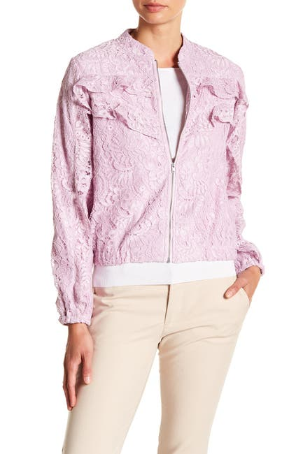 Image of NANETTE nanette lepore Zip Ruffle Accent Lace Jacket