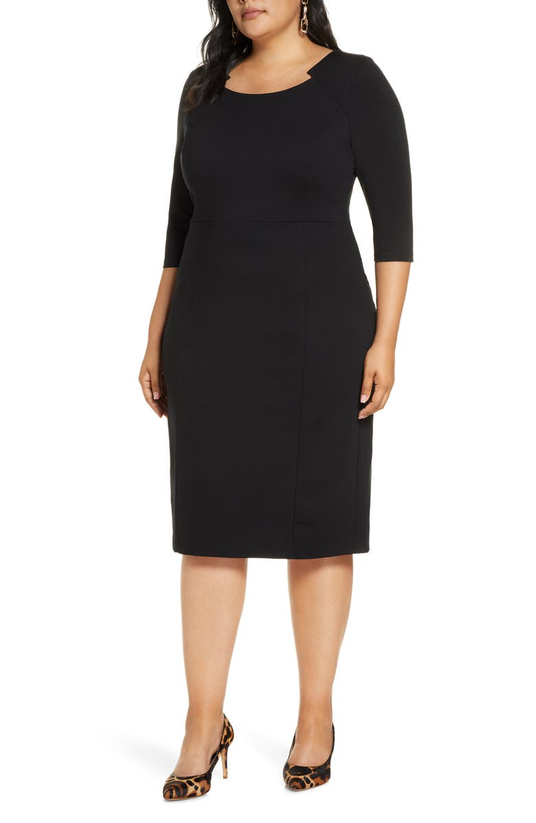 HALOGEN<SUP>®</SUP> Ponte Sheath Dress, Main, color, BLACK