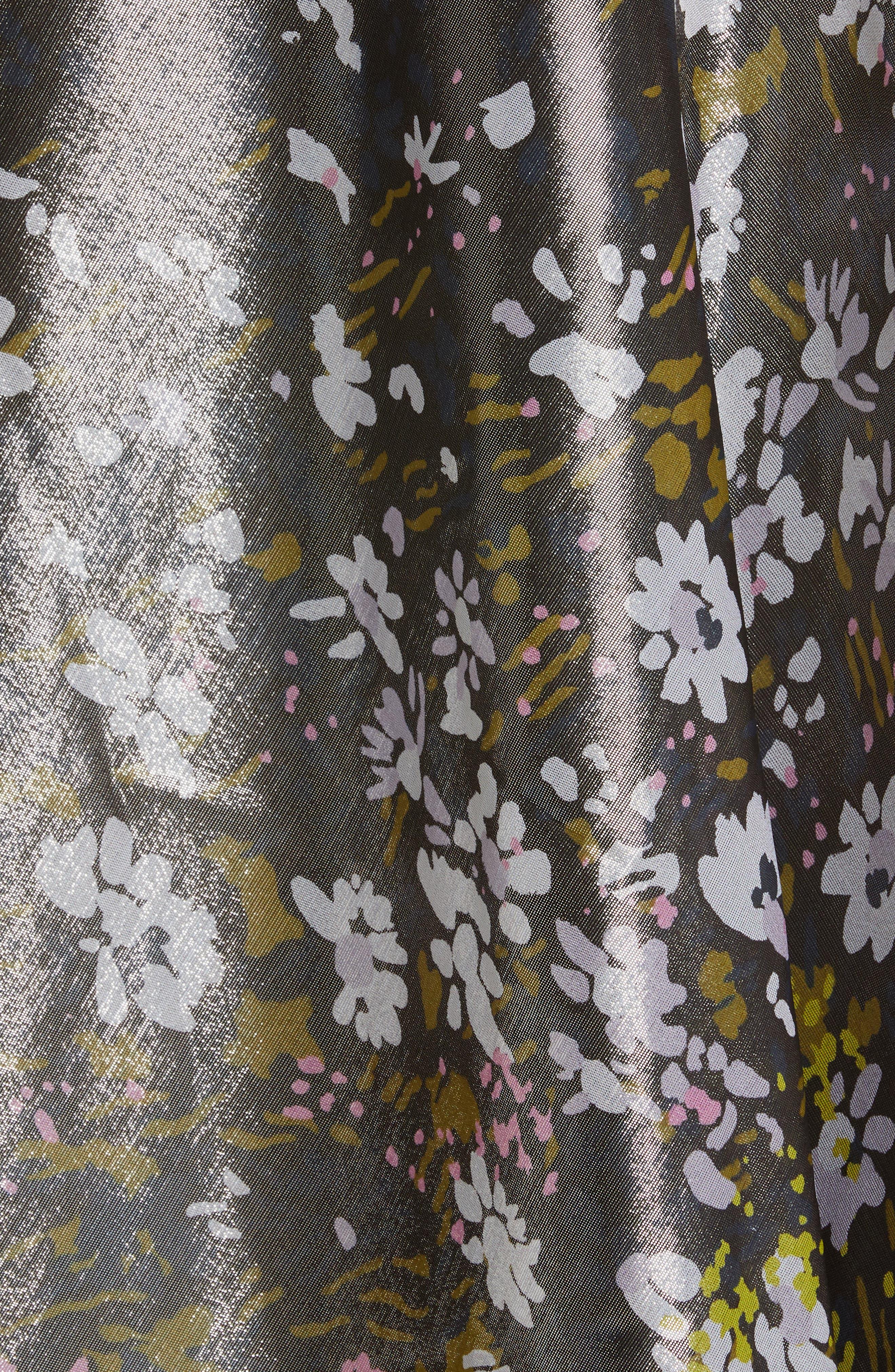 Ganni Dresses Floral Print Metallic Silk Maxi Dress