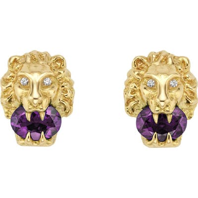 Gucci Lion Head Diamond & Stone Stud Earrings