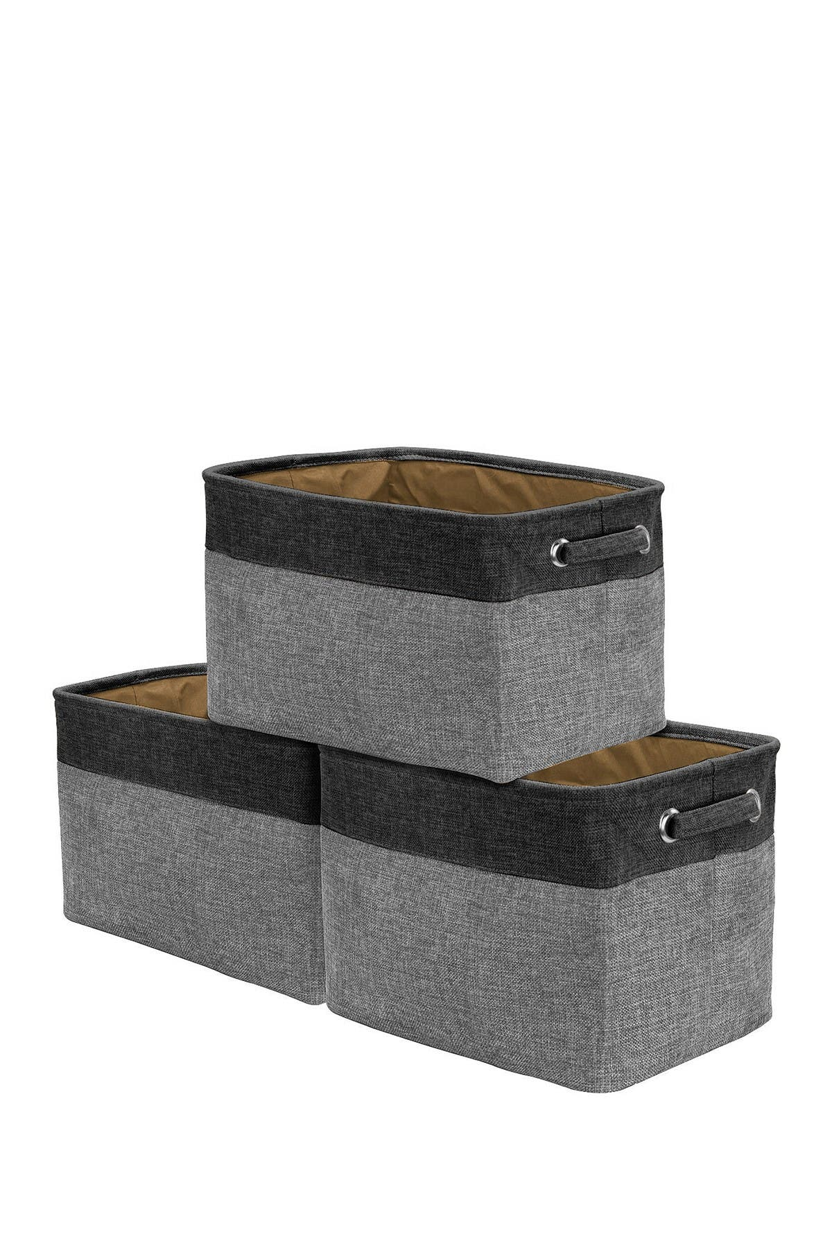 Image of Sorbus Black Twill Storage Basket - Set of 3