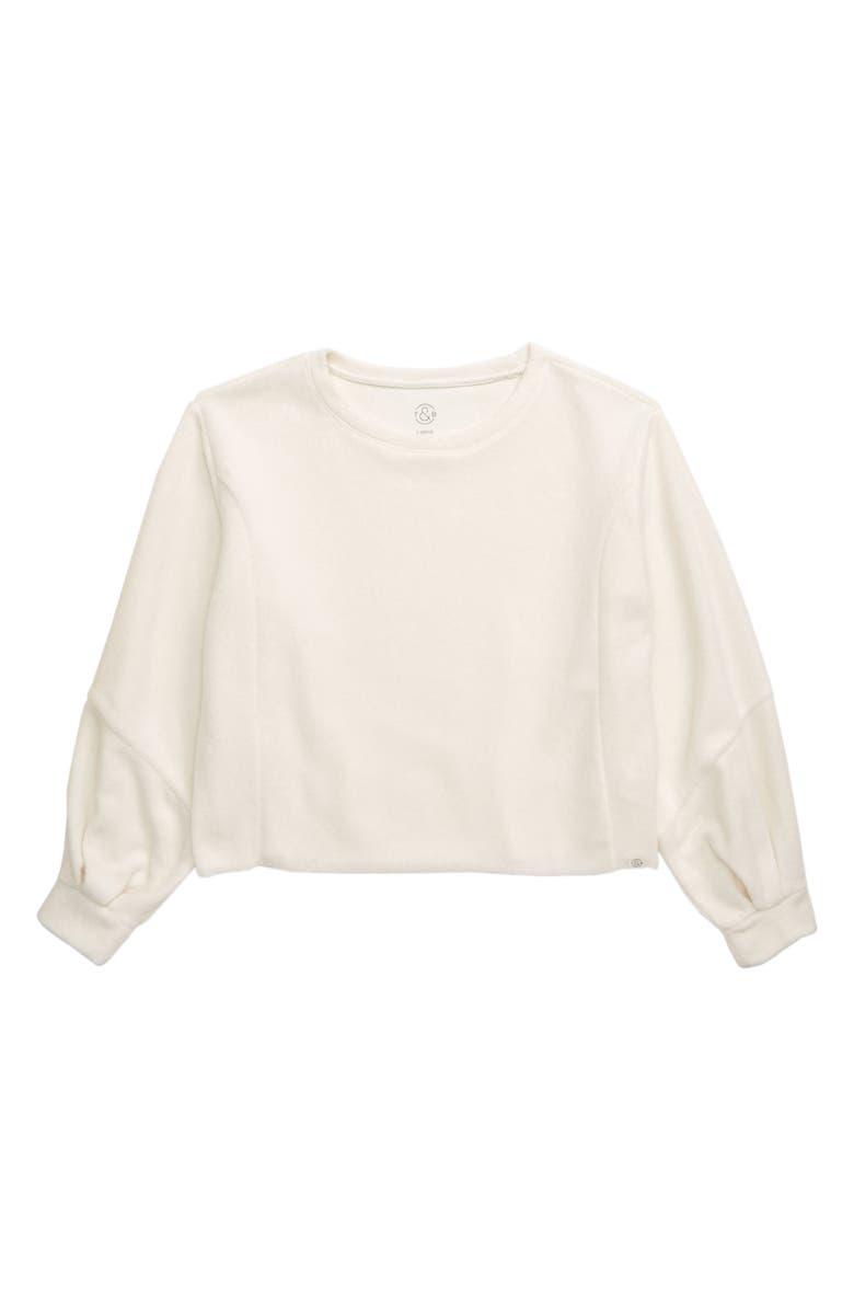 TREASURE & BOND Cozy Pleat Sweatshirt, Main, color, IVORY EGGNOG