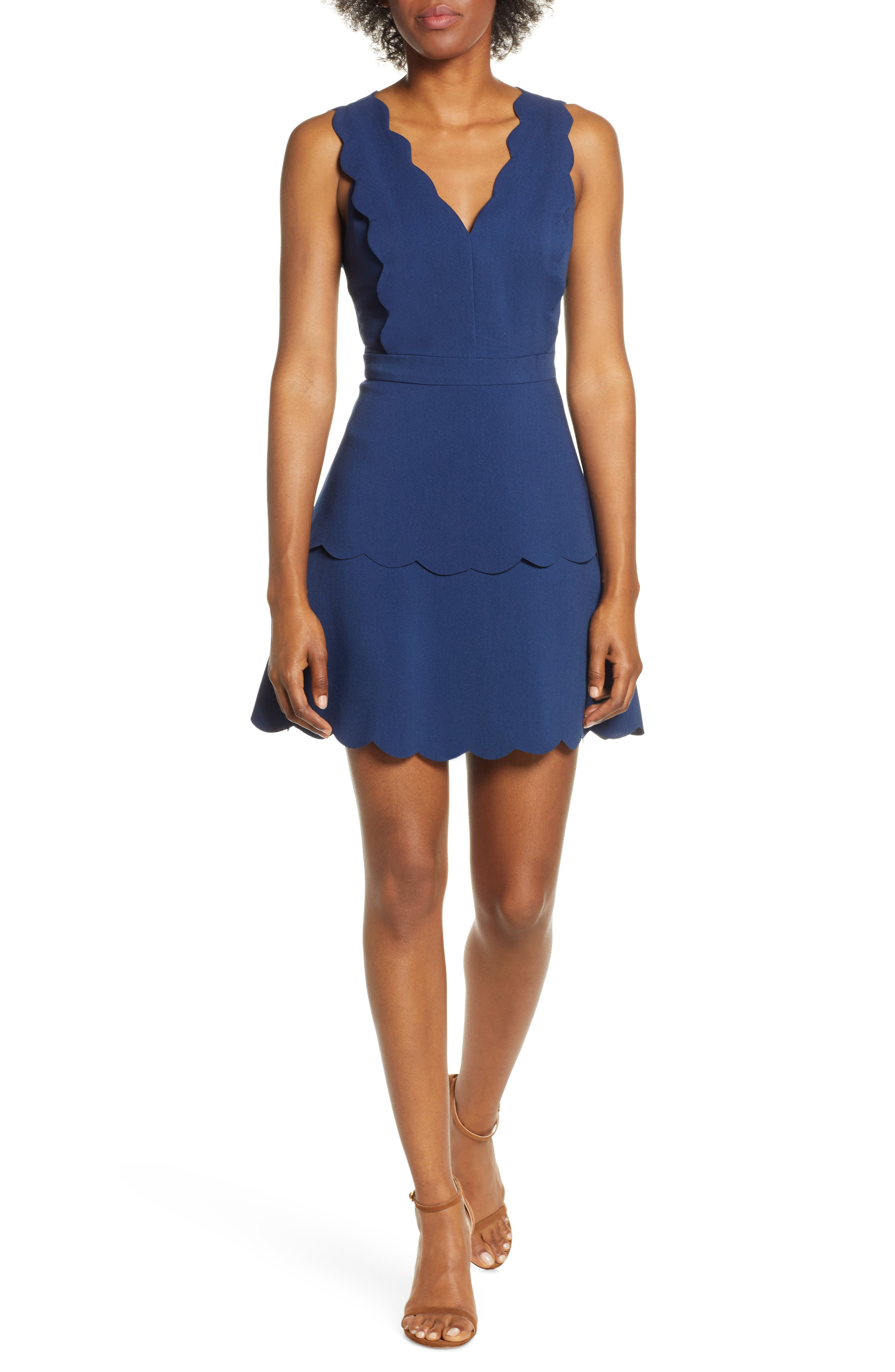 Adelyn Rae Jaden Tiered Scallop Dress, Blue
