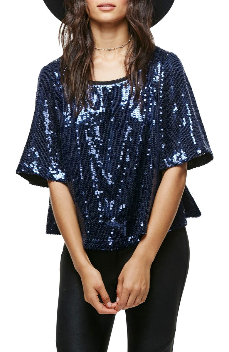 FREE PEOPLE Night Fever Sequin Tee, Main, color, 410
