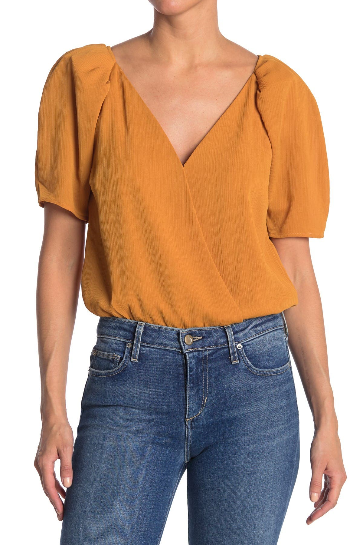 Image of ASTR the Label Puff Sleeve Wrap Front Bodysuit