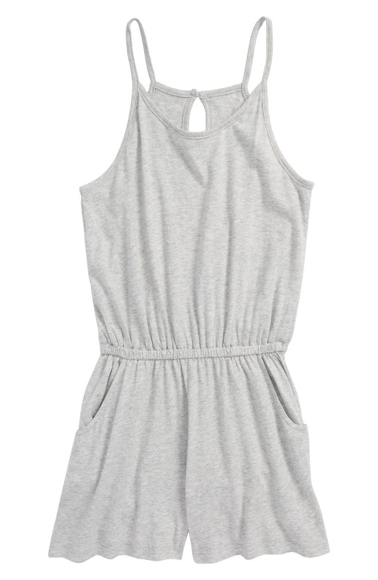 HABITUAL GIRL Habitual Kid Corrie Cotton Blend Romper, Main, color, GREY HEATH