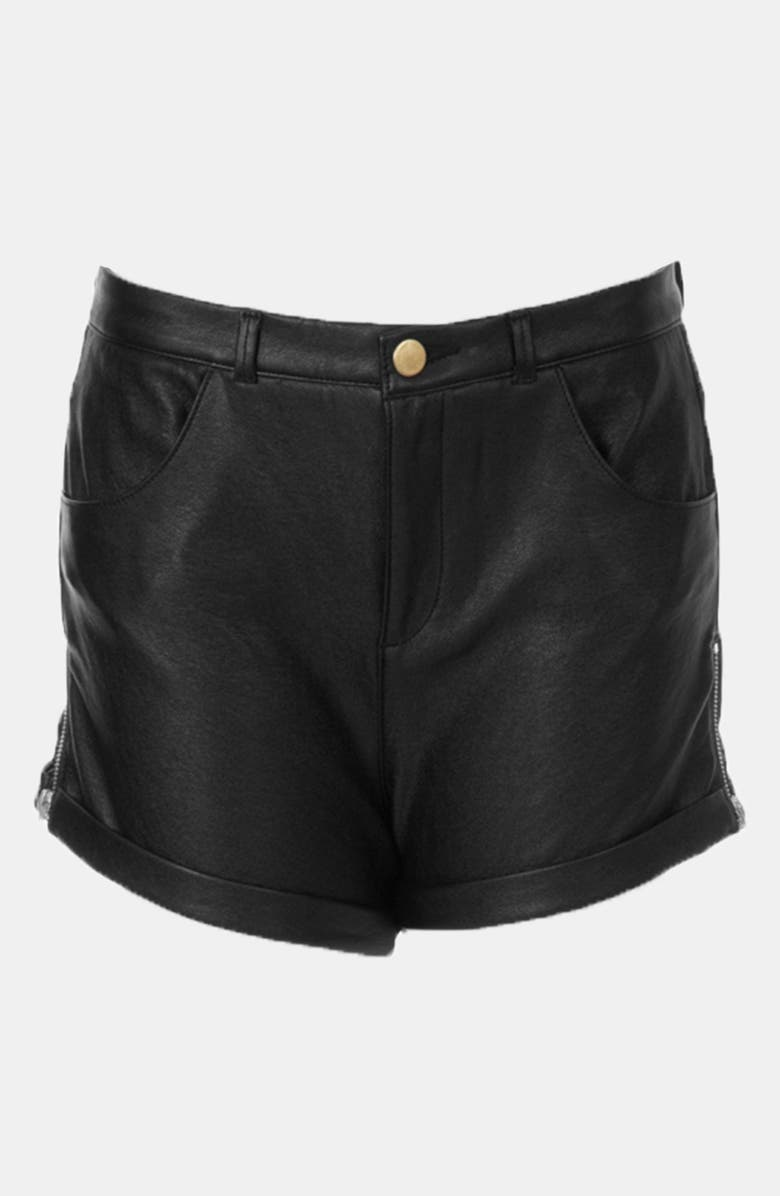 TOPSHOP 'Kuri' Faux Leather Cuff Shorts, Main, color, 001