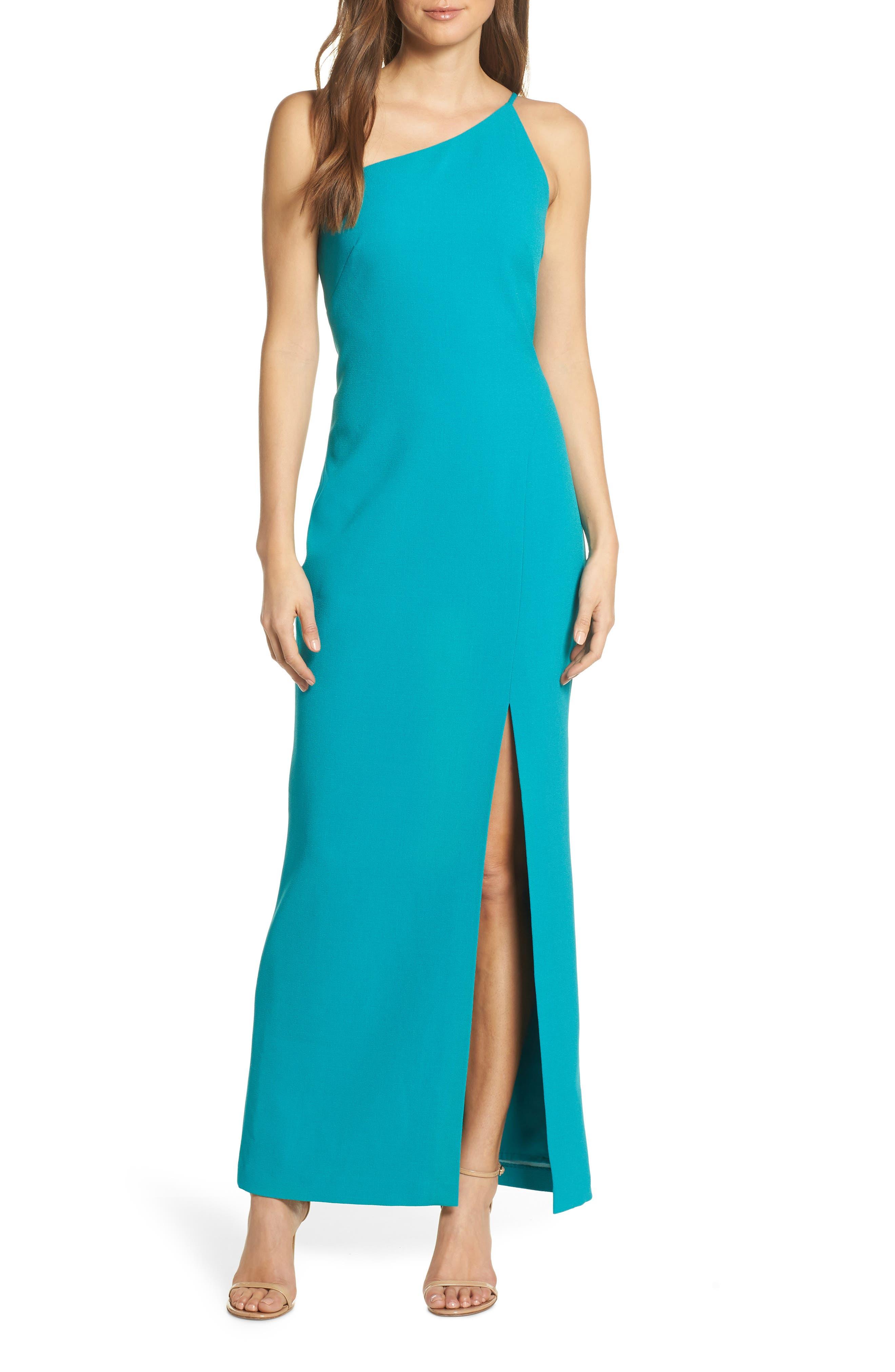 Vince Camuto One-Shoulder Crepe Column Gown, Blue