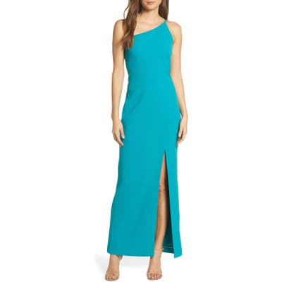 Vince Camuto One-Shoulder Crepe Column Gown, 8 (similar to 1) - Blue