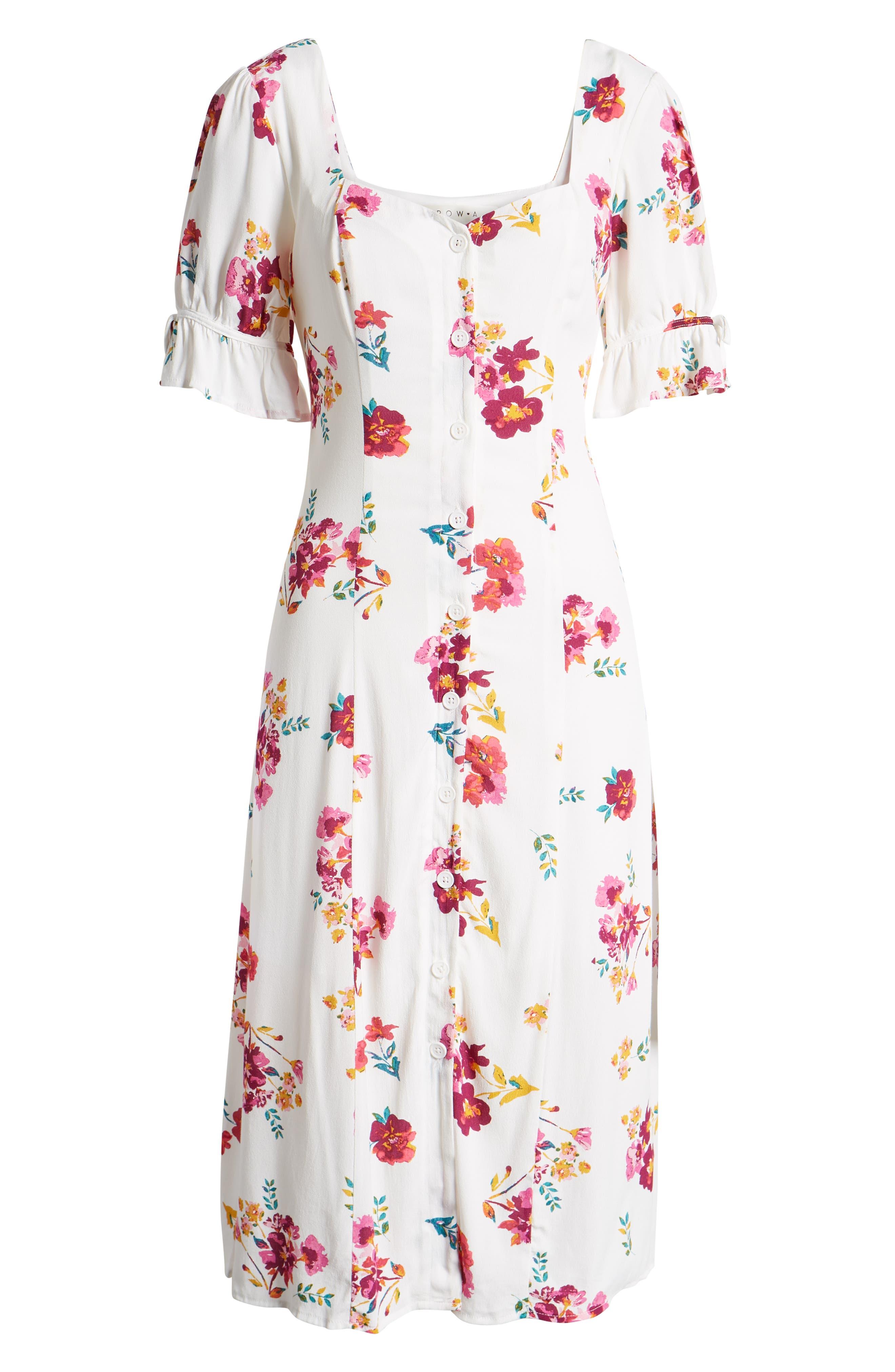 ,                             Floral Print Midi Dress,                             Alternate thumbnail 7, color,                             WHITE MULTI FLORAL