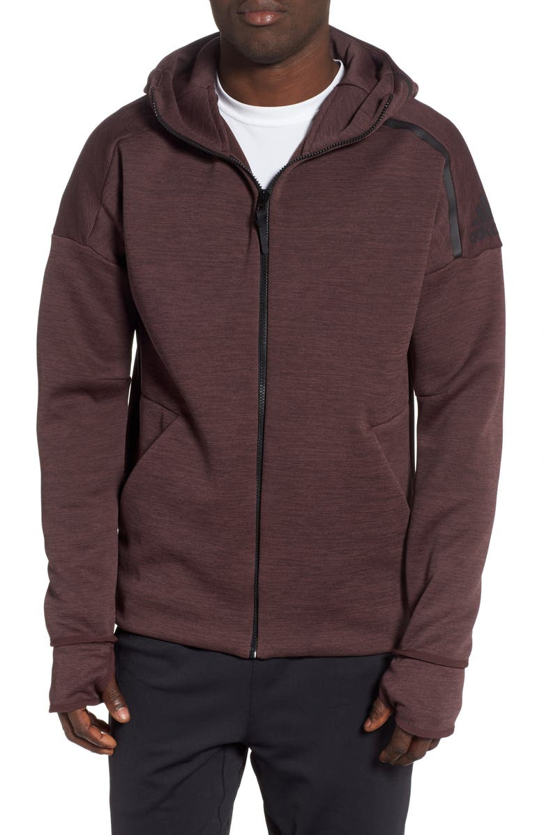 ADIDAS Z.N.E. Fast Release Hoodie, Main, color, HEATHER/ NIGHT RED