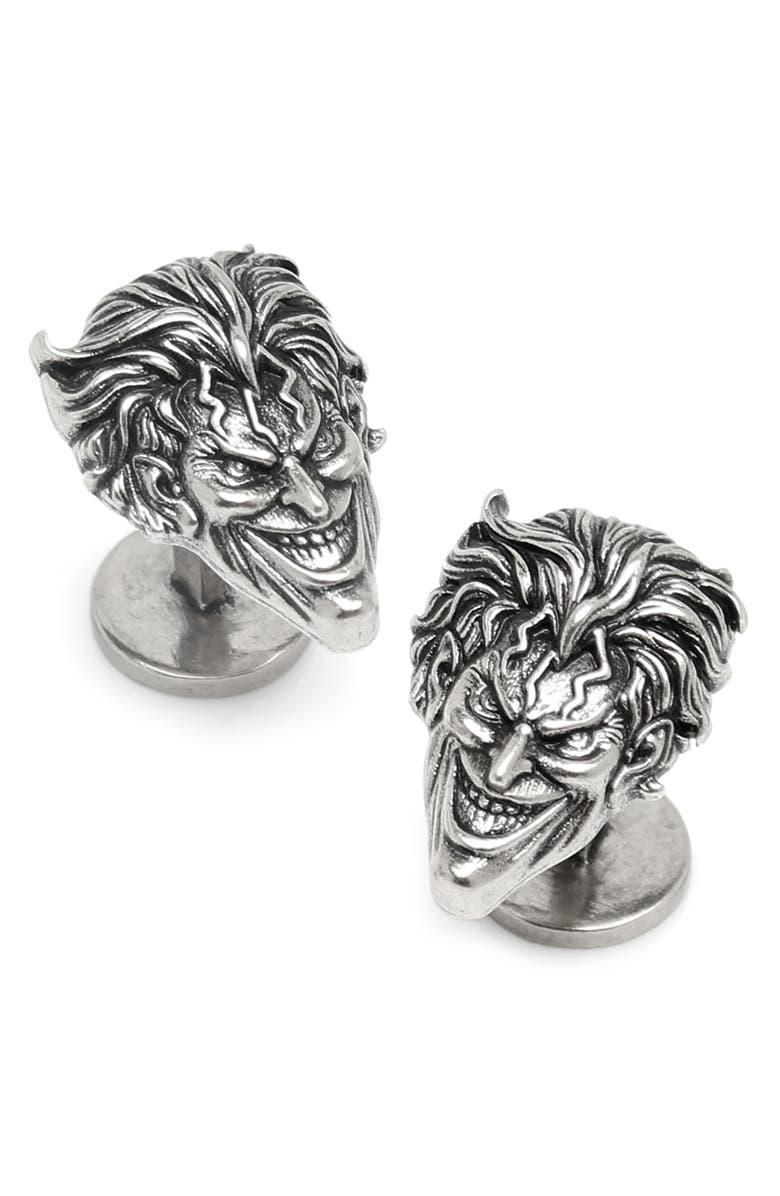 CUFFLINKS, INC. Joker Face Cuff Links, Main, color, SILVER