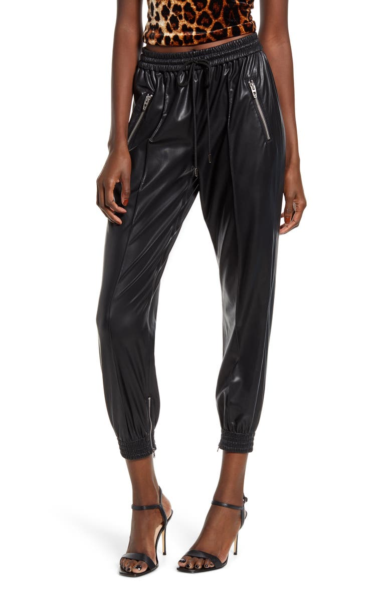 BLANKNYC Running Wild Faux Leather Track Pants, Main, color, BLACK