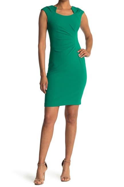 Image of Calvin Klein Horseshoe Neck Sheath Dress
