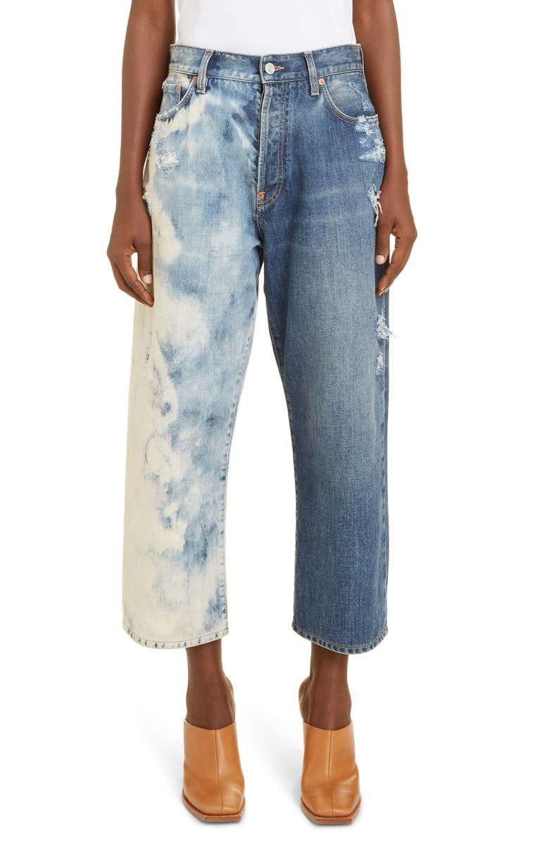 GIVENCHY Ripped Acid Dipped Wide Leg Crop Jeans, Main, color, 420