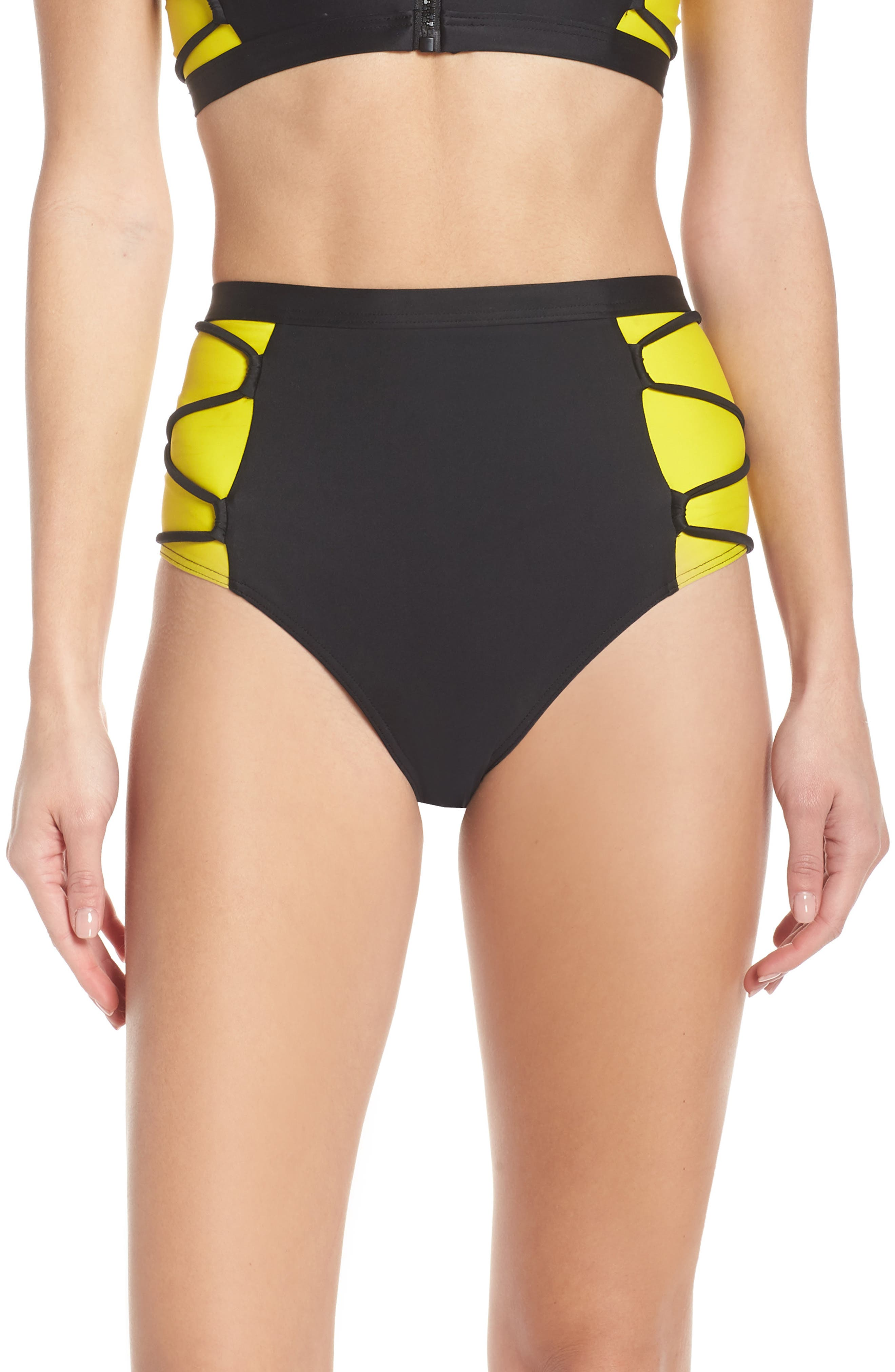 Chromat Launch Bikini Bottoms, Black