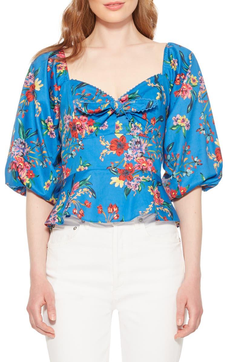 PARKER Iggy Floral Balloon Sleeve Cotton Blouse, Main, color, MINI ZINNEA