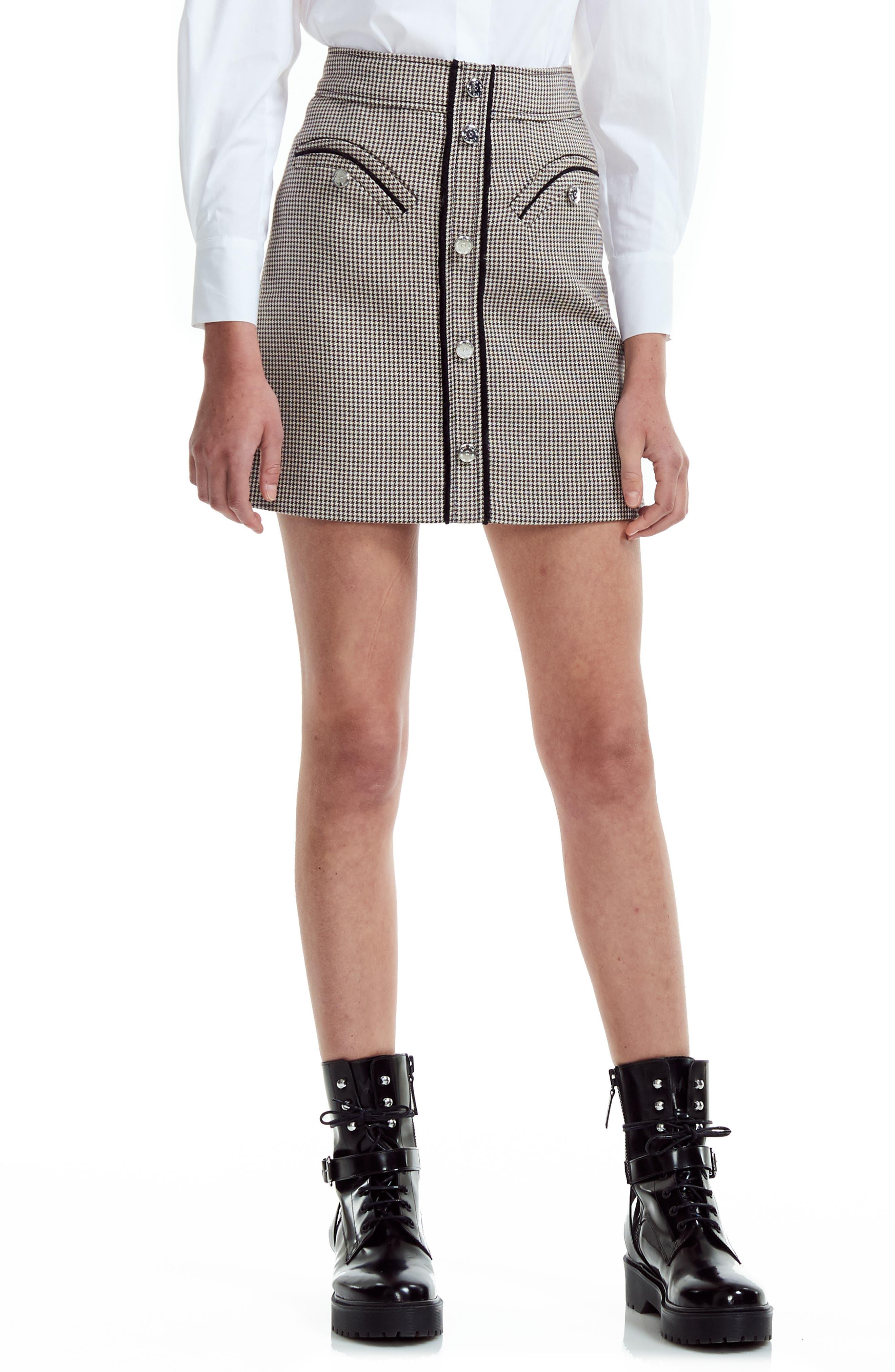 Maje Skirts Houndstooth Check Miniskirt