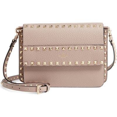 Valentino Garavani Small Rockstud Calfskin Leather Shoulder Bag - Beige