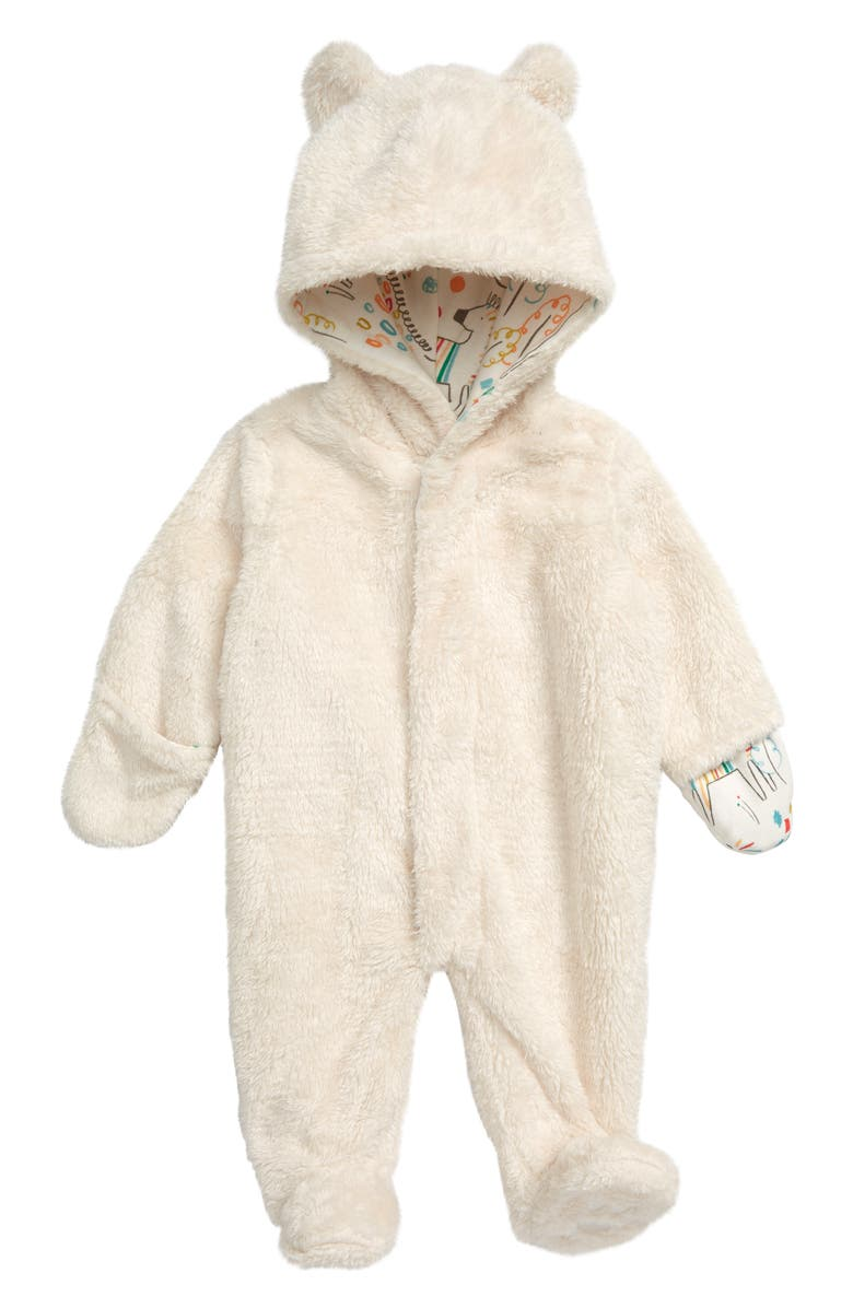 MAGNETIC ME Minky Fleece Hooded Footie, Main, color, CREAM