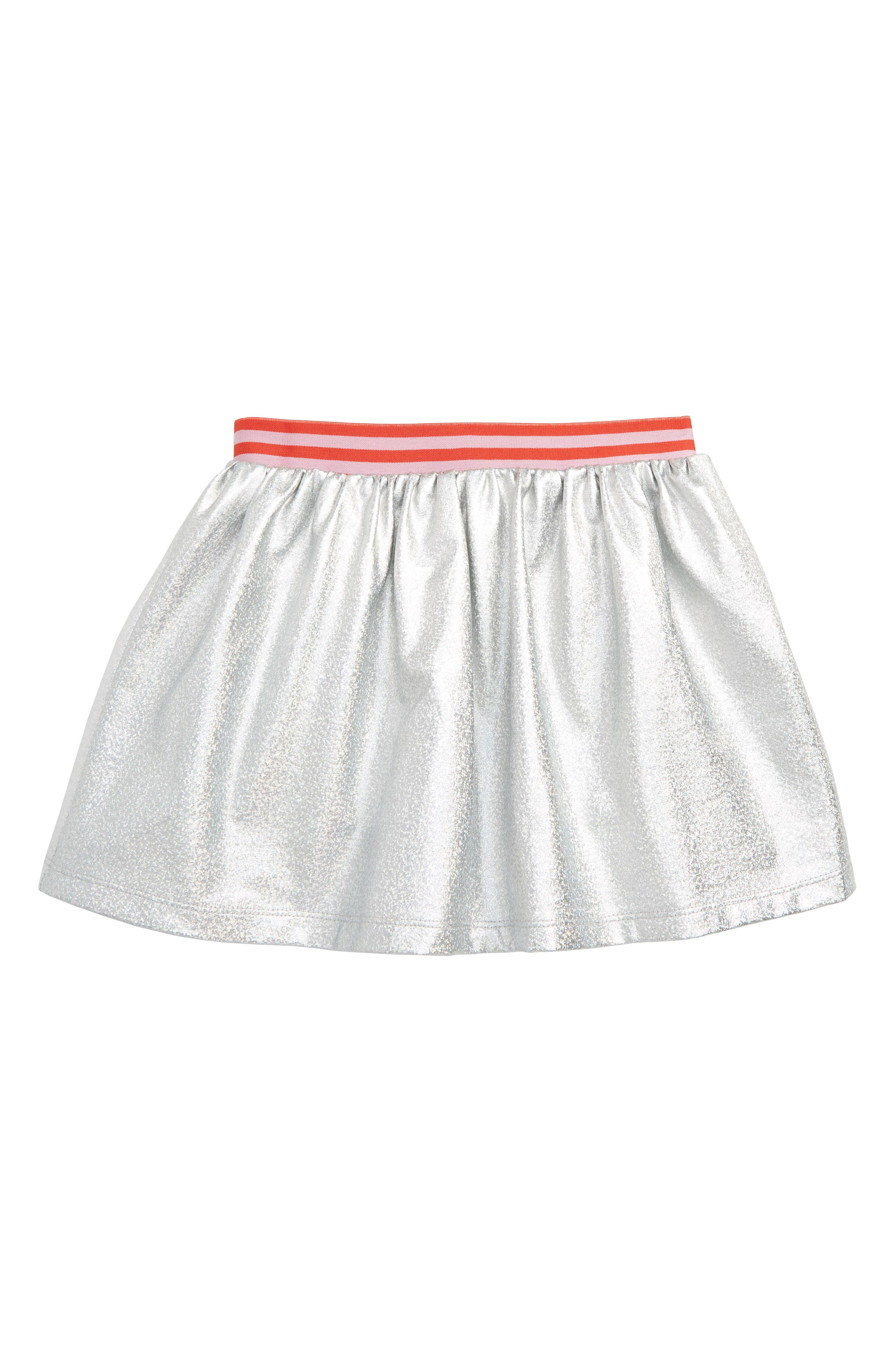 Boden Metallic Skirt, Main, color, SLV IRIDESCENT SILVER