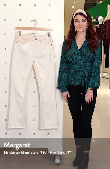 Le Crop High Waist Raw Edge Mini Boot Jeans, sales video thumbnail