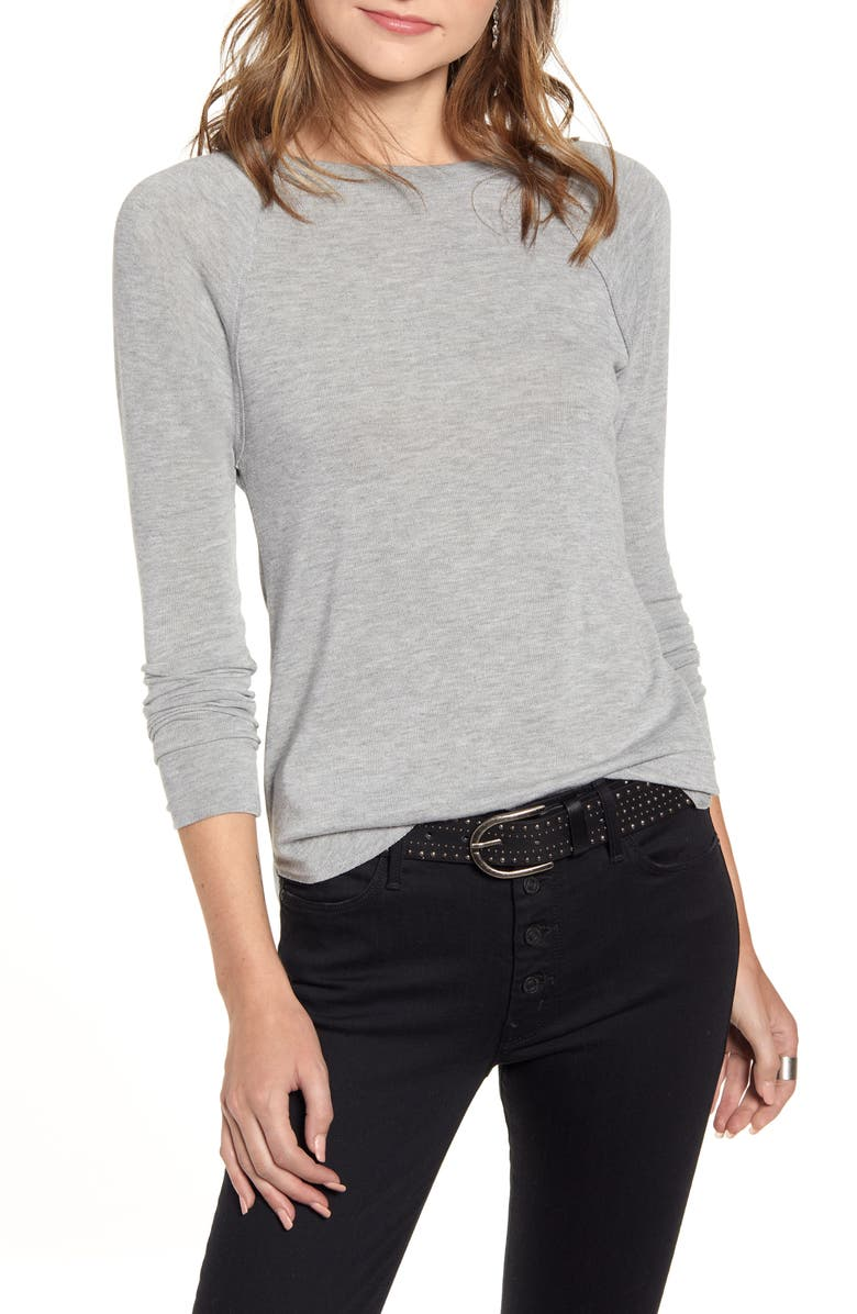 TREASURE & BOND Curved Hem Tee, Main, color, GREY LIGHT HEATHER