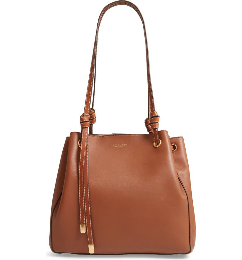 TORY BURCH Caroline Leather Tote, Main, color, LIGHT UMBER