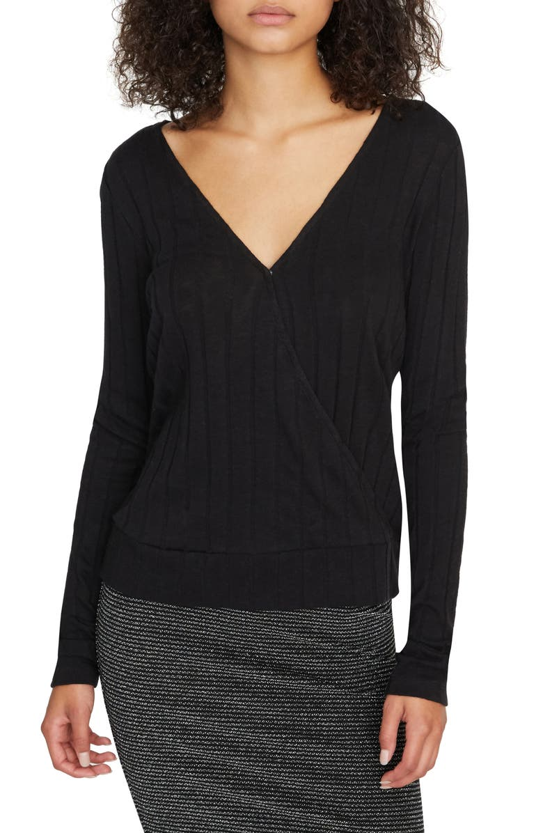SANCTUARY Polina Ribbed Faux Wrap Top, Main, color, BLACK