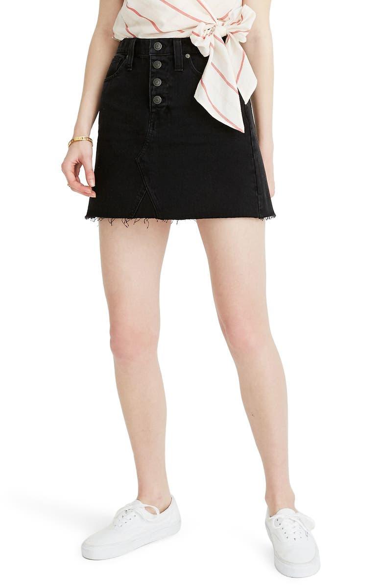 MADEWELL Button Front Denim A-Line Miniskirt, Main, color, 009