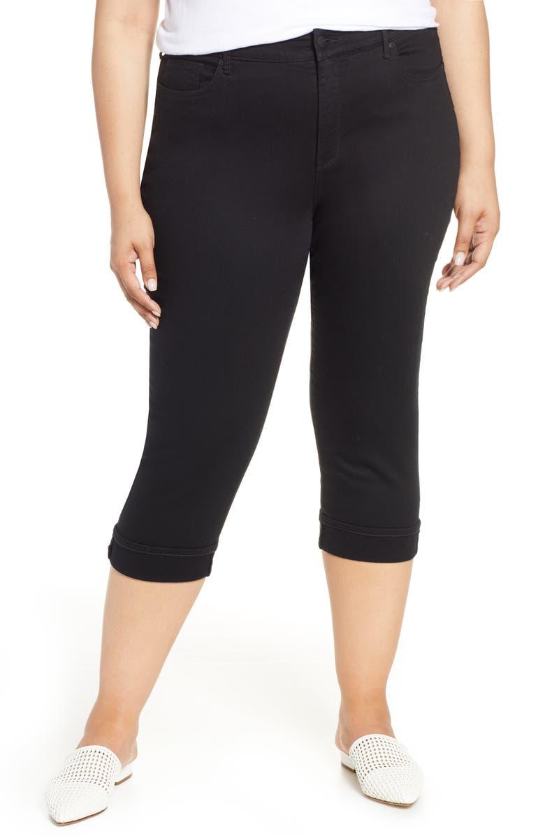 NYDJ Marilyn Crop Cuff Jeans, Main, color, BLACK