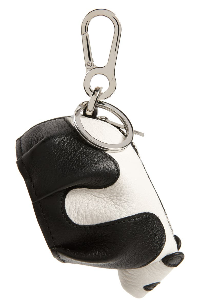 LOEWE Leather Panda Pouch Key Chain, Main, color, BLACK/ WHITE