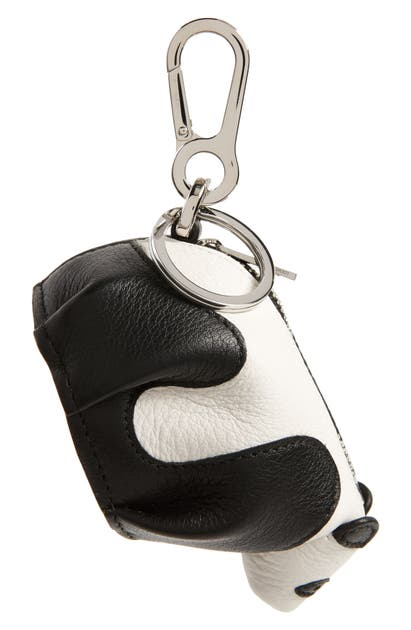Loewe Leather Panda Pouch Key Chain In Black/ White