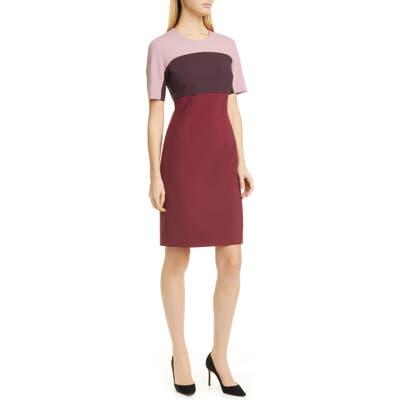 Boss Donena Colorblock Short Sleeve Sheath Dress, Red