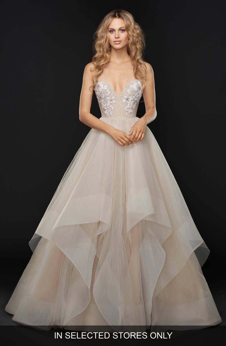 HAYLEY PAIGE Keagan Embellished Tulle Ballgown, Main, color, SWEET HONEY BEE